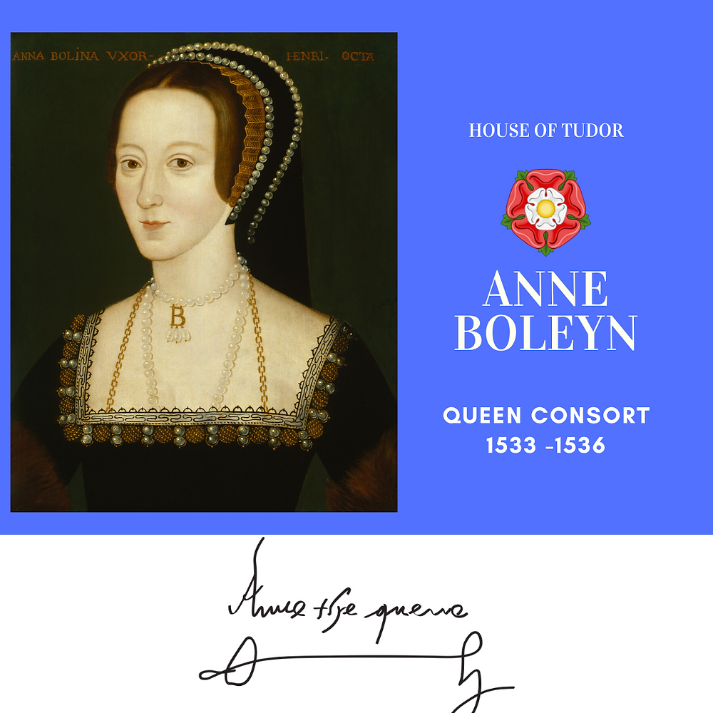 Anne Boleyn, Queen of England and second wife of king Henry VIII of England. Tudor rose.