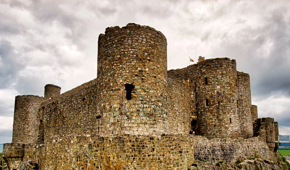Harlech Castle in Harlech, North Wales, a medieval castle built by King Edward I of England