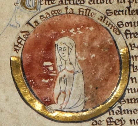 Æthelflæd, Lady of the Mercians in the thirteenth-century Genealogical Chronicle of the English Kings, British Library Royal MS 14 B V