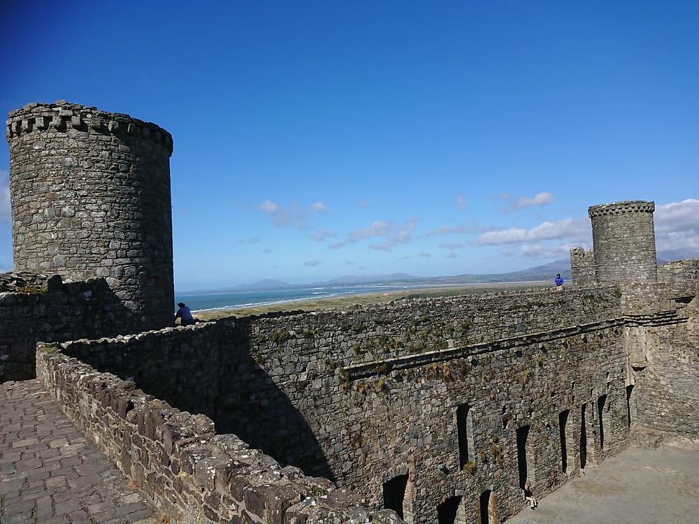 The castle wall-walk inside Harlech castle, North Wales