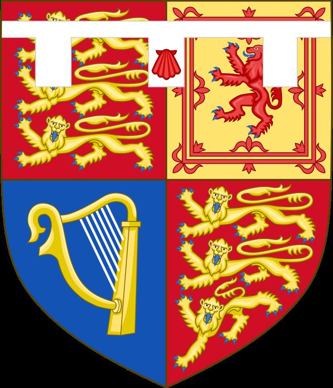 Prince William, Duke of Cambridge shield of arms. Royal heraldry.