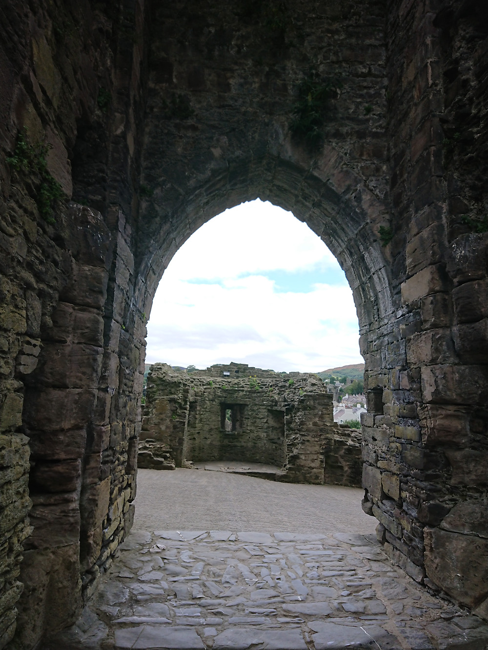 The main gate of Conwy castle, Conwy North Wales. The view of the West barbican can be seen, this was intended to protect the main gate. Built by King Edward I of England