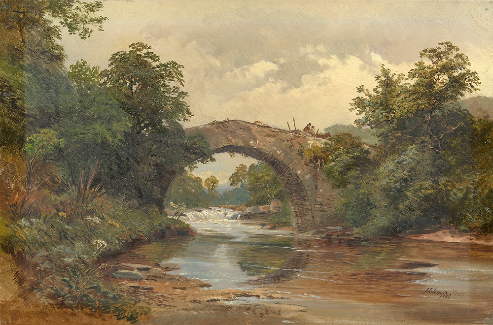 Princess Helena artwork, Landscape with a Bridge Signed and dated 1883