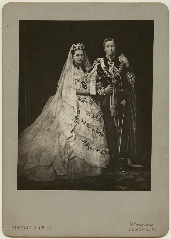 Queen Alexandra; King Edward VII  by Mayall & Co, after John Jabez Edwin Mayall carbon print on photographer's card mount, late 1890s-early 1900s (18 March 1863) NPG x9182  © National Portrait Gallery, London