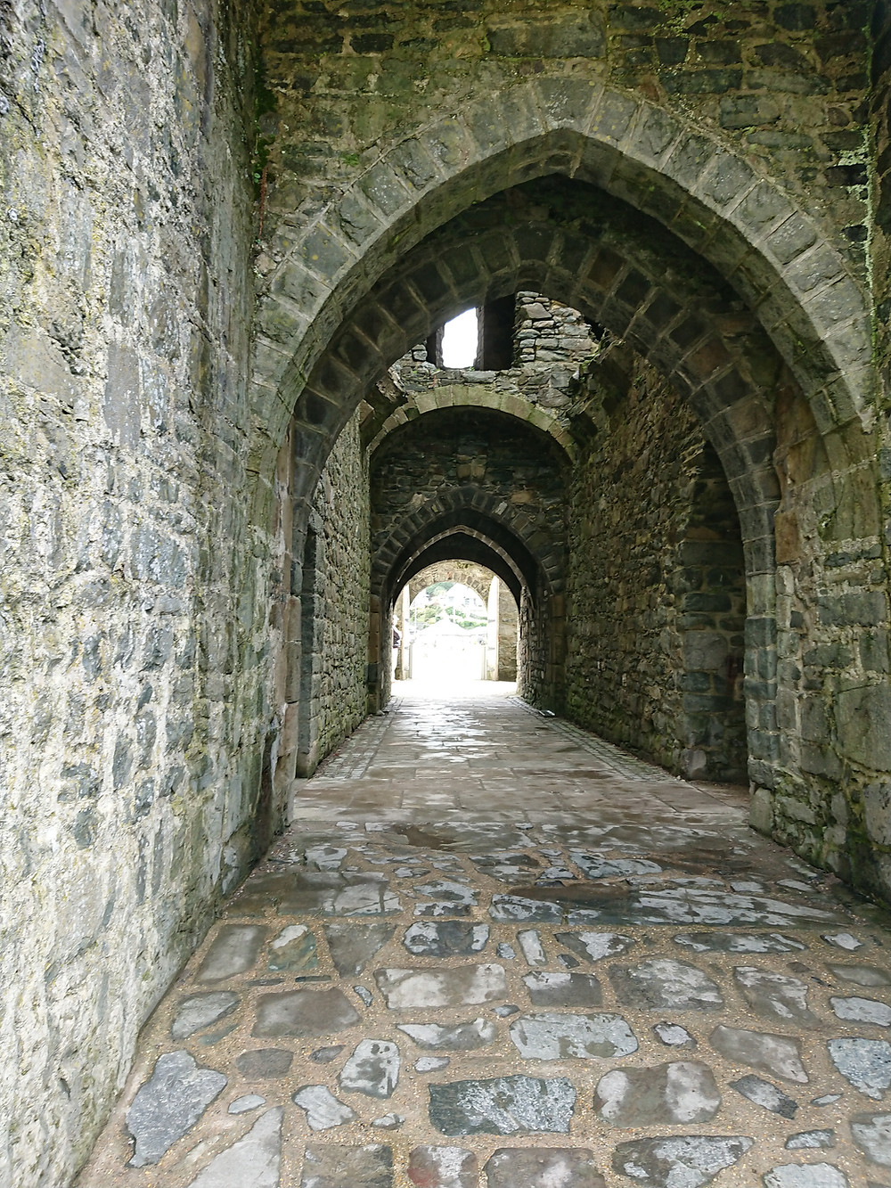 Inside Harlech Castle in Norgh Wales. Medieval stronghold built by Edward I, king of England