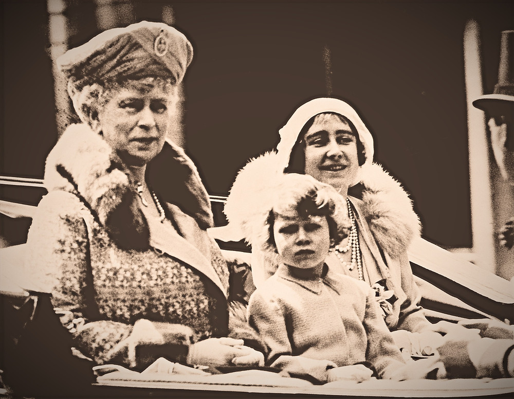 Queen Mary returning from Trooping the Colour with the Duchess of York and Princess Elizabeth, 1931