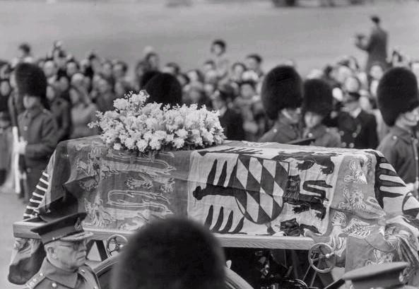 Queen Mary's funeral carriage. At her funeral, Mary's coffin was draped in her personal banner of arms. God save the Queen