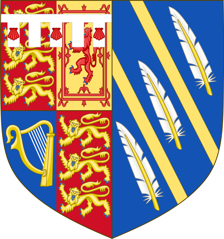 The arms of the Duke of Sussex impaled with those of her own design. The Arms of Meghan, Duchess of Sussex (born 1981). The wife of Prince Harry, Duke of Sussex. Meghan bears the arms of her husband impaled with her own. Thomas Woodcock, Garter King of Arms, the senior officer of the College of Arms, helped the Duchess with the design, which was approved by the Queen. Arms granted 25 May 2018. The blue background of the shield represents the Pacific Ocean off the California coast, while the two golden rays across the shield are symbolic of the sunshine of the Duchess's home state. The three quills represent communication & the power of words.