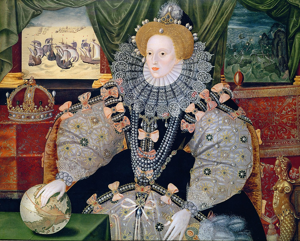 Elizabeth I, Queen of England a portrait painting commemorating the English victory over the Spanish Armada in 1588