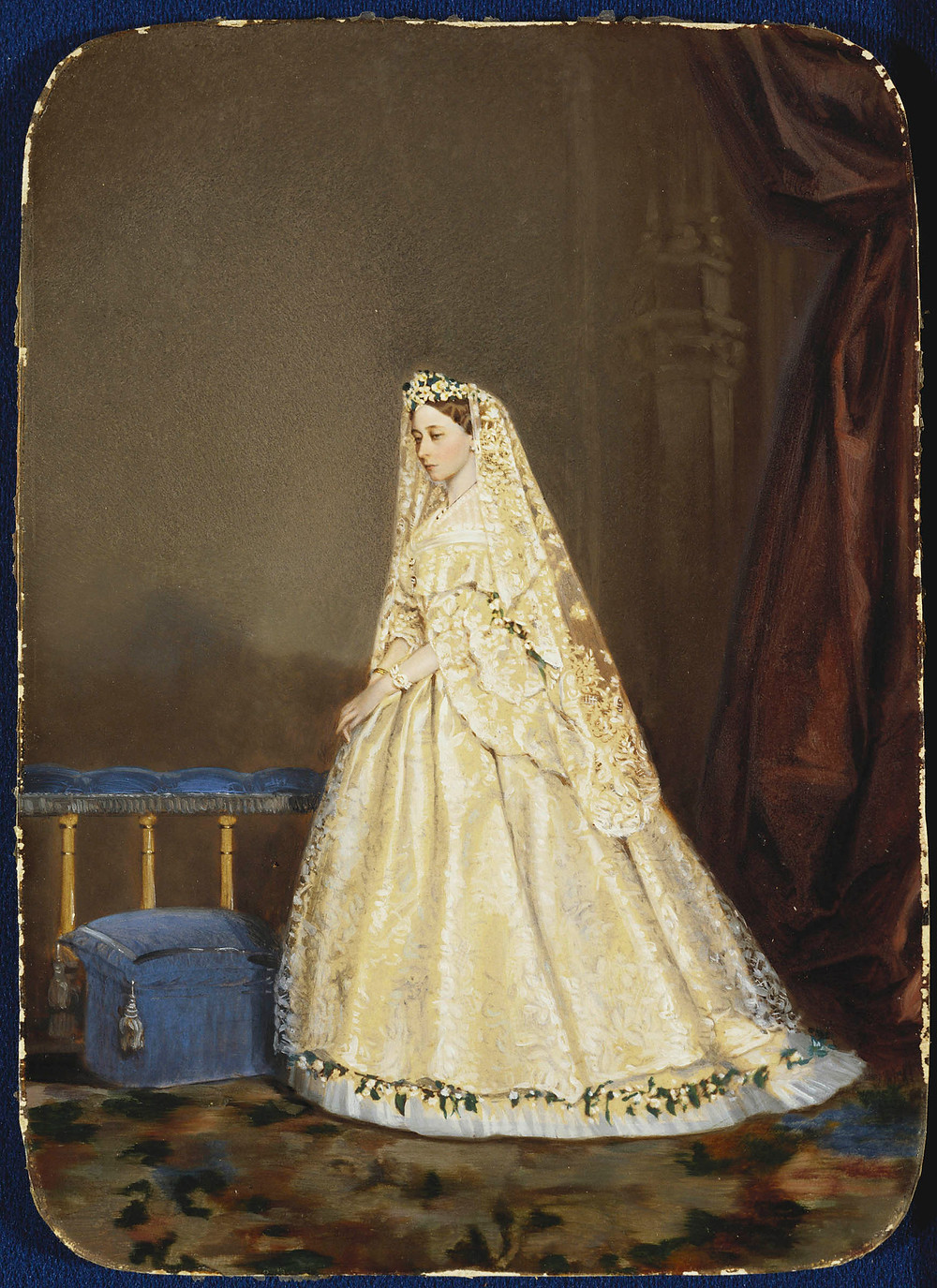 Hand coloured photograph of Princess Alice standing at an altar in her wedding dress, 1862. Royal Collection Trust/© Her Majesty Queen Elizabeth II 2020
