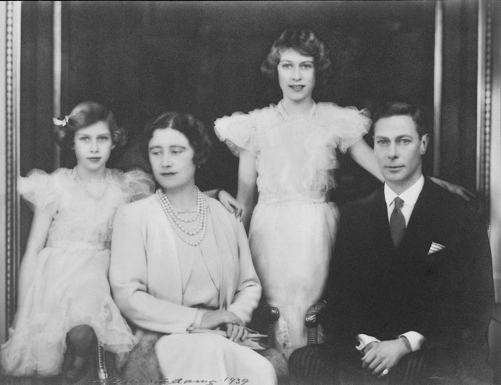 Family photo 1939. King George VI, Queen Elizabeth, Elizabeth II when Princess Elizabeth & Princess Margaret, 1939 by marcus adams