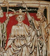 a Medieval painting of the crowning of William the Conqueror in 1066.