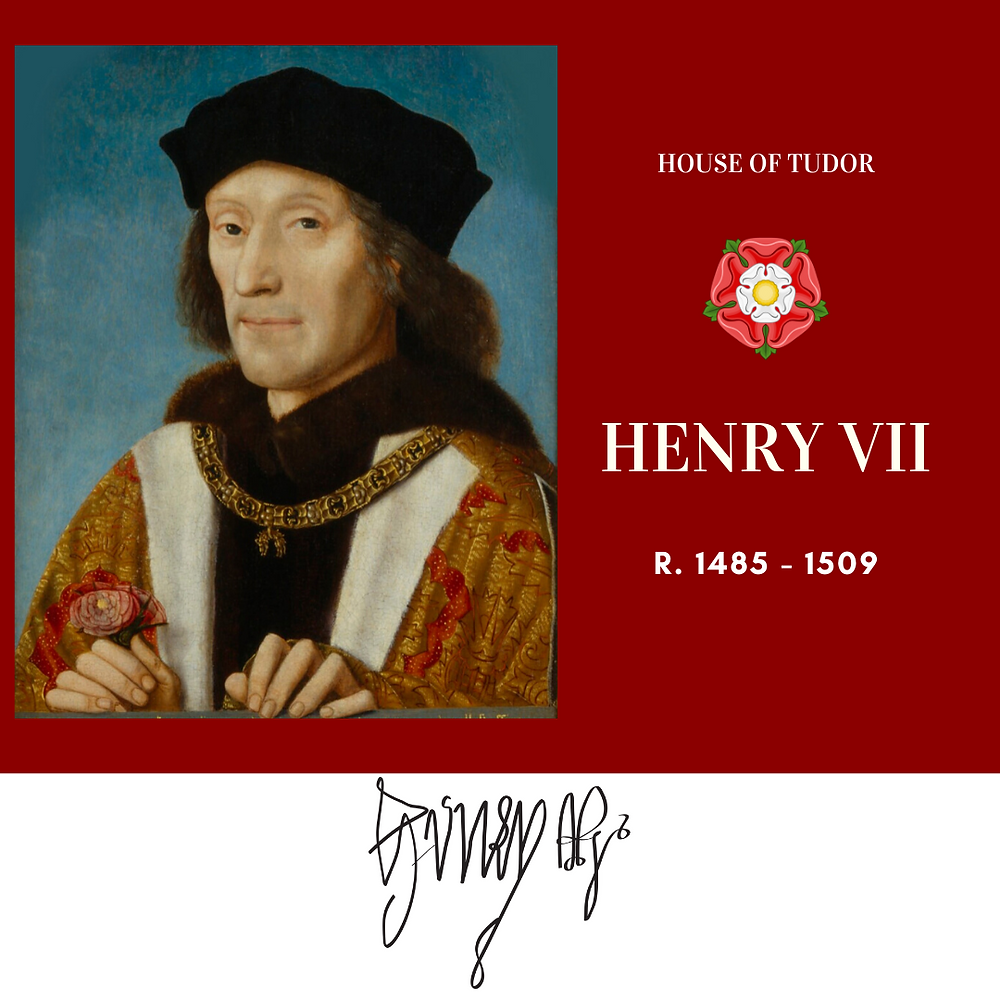 Henry VII, the first Tudor monarch of England. His victory at the Battle of Bosworth ended the Wars of the Roses. His marriage to Elizabeth of York united the rival Royal houses of Lancaster and York.
