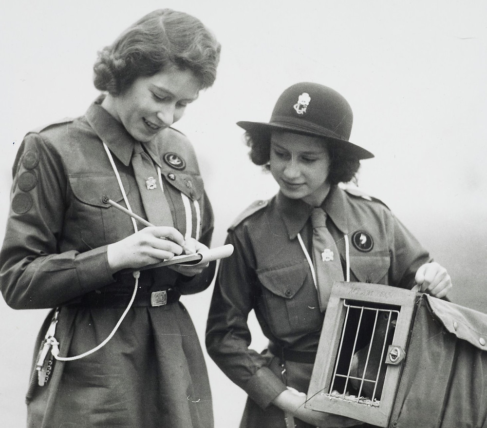 The Queen when Princess Elizabeth & Princess Margaret, in the Girl guides