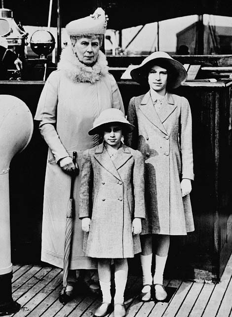 Queen Mary with her granddaughters, Princesses Margaret (front) and Elizabeth, May 1939. Mary often took her granddaughter out on trips in London