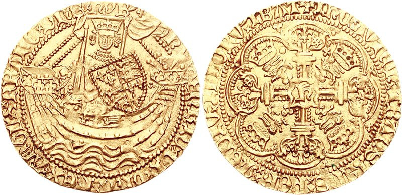 A gold noble coin of Henry V, Classical Numismatic Group, Inc. http://www.cngcoins.com [GFDL (http://www.gnu.org/copyleft/fdl.html), CC-BY-SA-3.0 (http://creativecommons.org/licenses/by-sa/3.0/) or CC BY-SA 2.5  (https://creativecommons.org/licenses/by-sa/2.5)], via Wikimedia Commons
