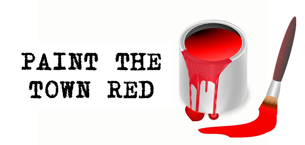 Paint the town red old saying, tin of red Paint & brush