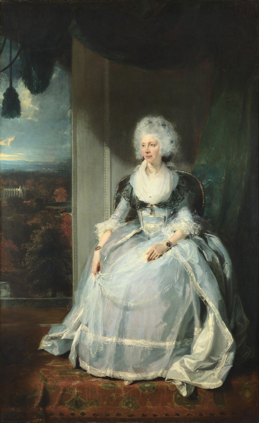 Queen Charlotte, the wife of King George III, portrait painting by Sir Thomas Lawrence, 1789