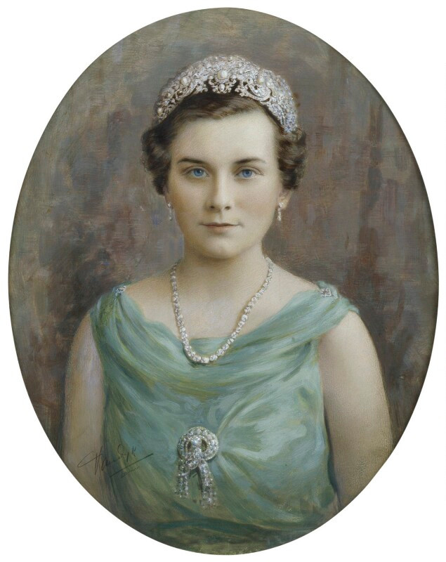 Princess Alice, Duchess of Gloucester  by Vandyk hand-coloured bromide print, 1930s NPG x74766  © National Portrait Gallery, London