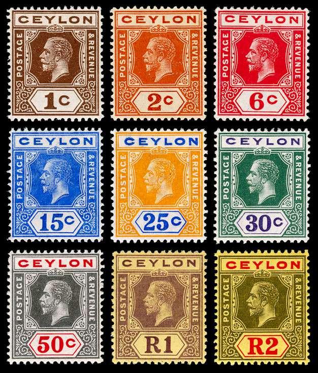 George V postage stamps used in Ceylon (modern day Sri Lanka)