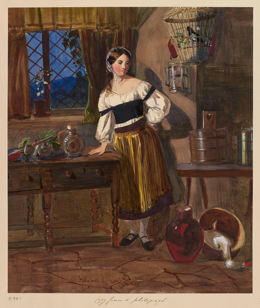 Peasant girl in a cottage dated 24 May 1860, by Princess Helena