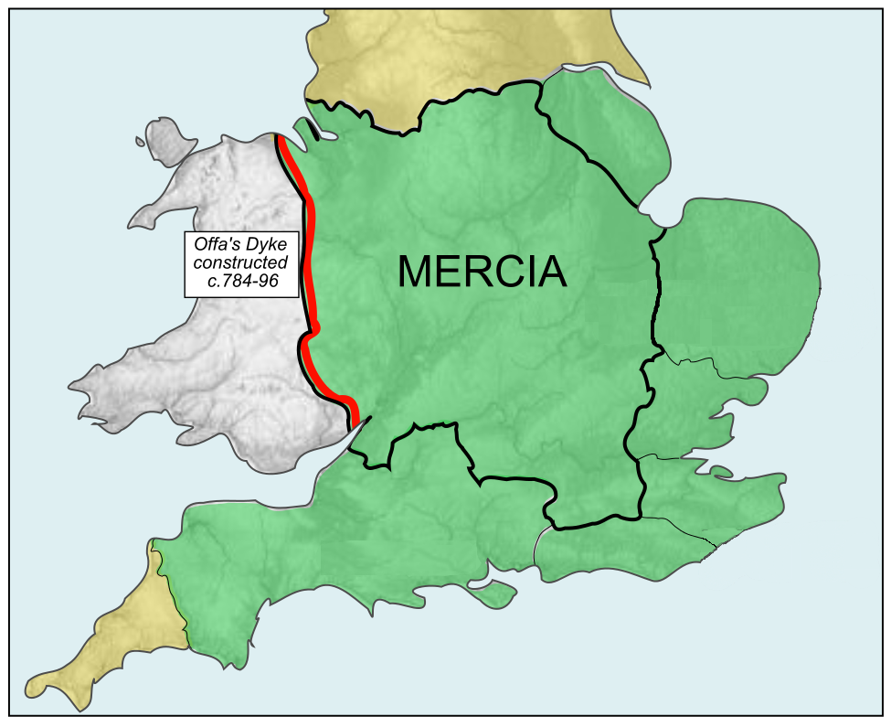 Map og the Kingdom of Mercia. Rushton2010 based on Hel-hama