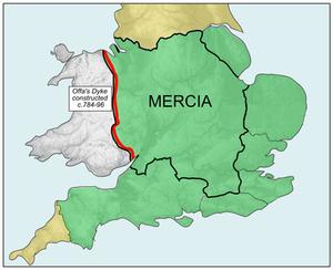 Map og the Kingdom of Mercia. Rushton2010 based on Hel-hama