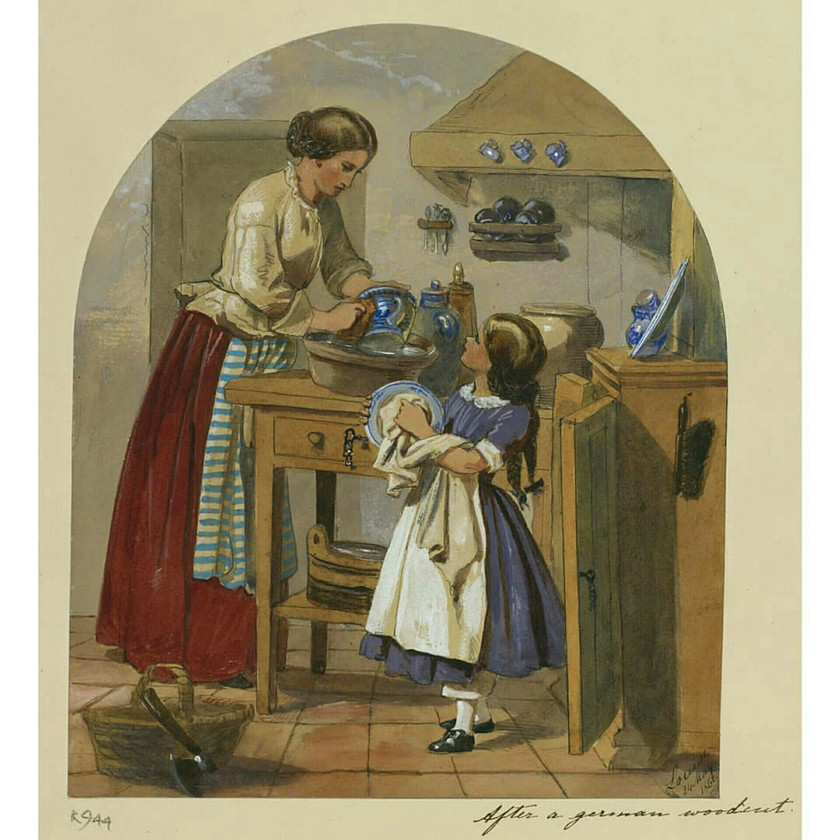 'mother & daughter washing up' dated 24 May 1860