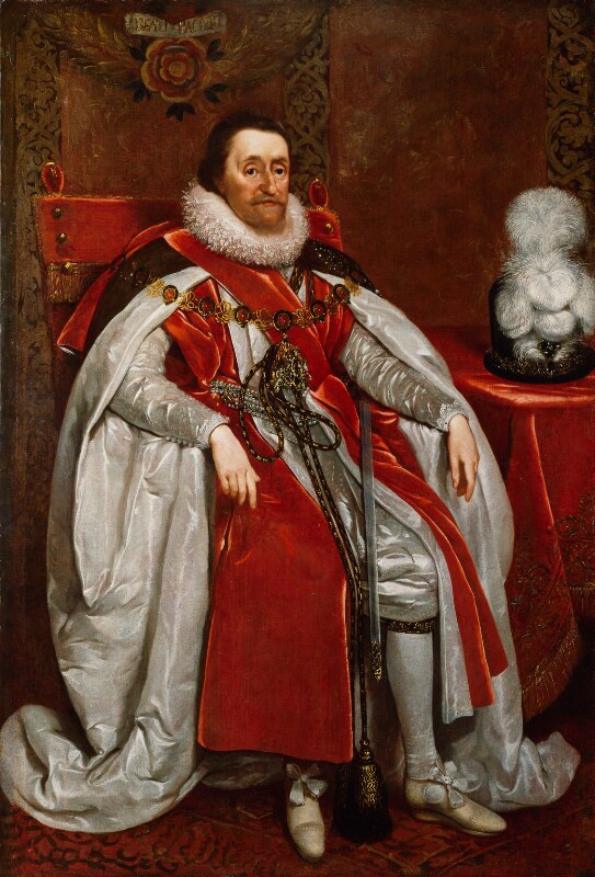 King James I of England and VI of Scotland  by Daniel Mytens oil on canvas, 1621 NPG 109  © National Portrait Gallery, London