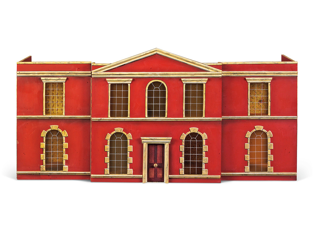 A POLYCHROME-DECORATED DOLL'S HOUSE SECOND HALF 20TH CENTURY The stepped front with pediment 23 ¾ in. (60.5 cm.) high; 46 ¾ in. (118.5 cm.) wide; 15 ¼ in. (38.5 cm.). royal family history, collections, christies.com
