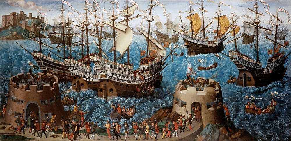 Henry VIII embarking at Dover. Dover Castle is depicted at top left. Royal Collection, Hampton Court. Royal history