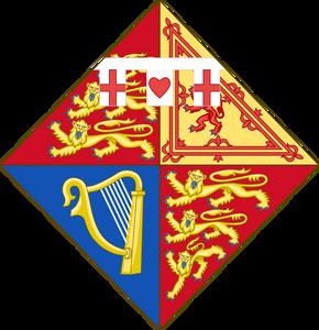 The arms of Princess Anne, The Princess Royal, daughter of Queen Elizabeth II & Prince Philip, Duke of Edinburgh