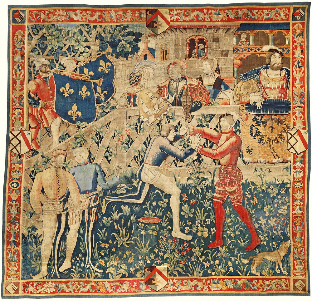 Wrestling at the Field of the Cloth of Gold (tapestry, c. 1520). Francis I, king of France is shown top right, above an actual cloth of gold.