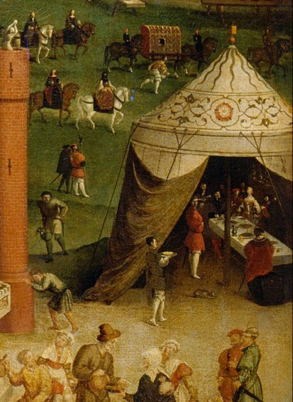 Queen Katharine, it has been suggested is the woman seen in the tent to the far right of the painting here, or she may be in the group behind the tent alongside her ladies-in-waiting. The field of the cloth of gold , 1520