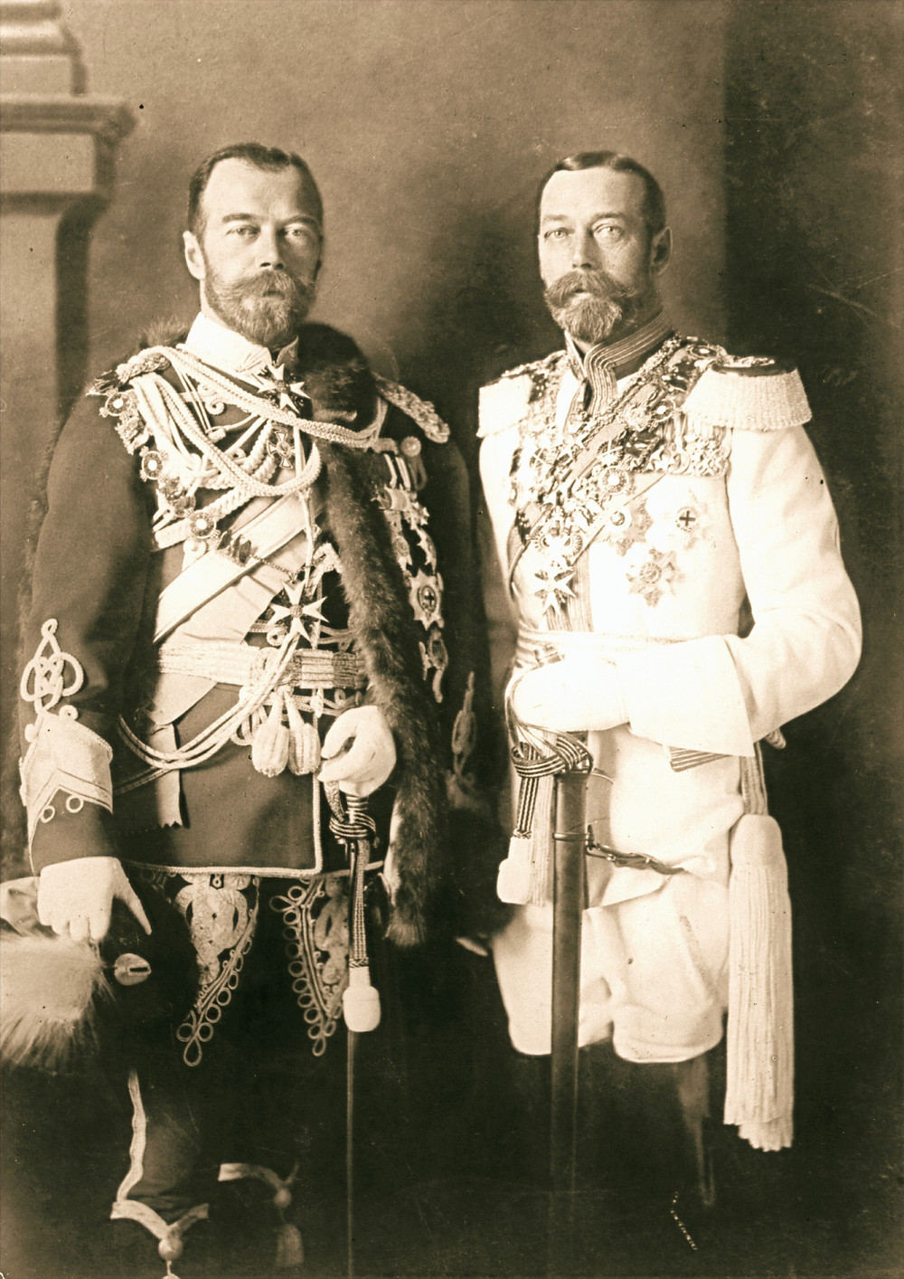 George V (right) and his physically similar cousin Nicholas II of Russia in German uniforms before the war[