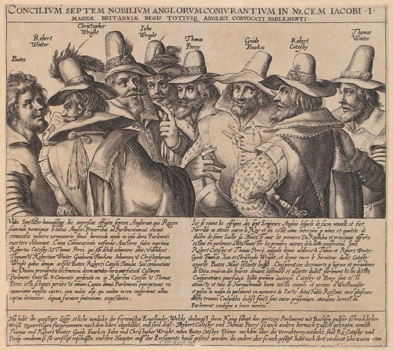 The Gunpowder Plot Conspirators, 1605  by Crispijn de Passe the Elder engraving, circa 1605 NPG 334a  © National Portrait Gallery, London