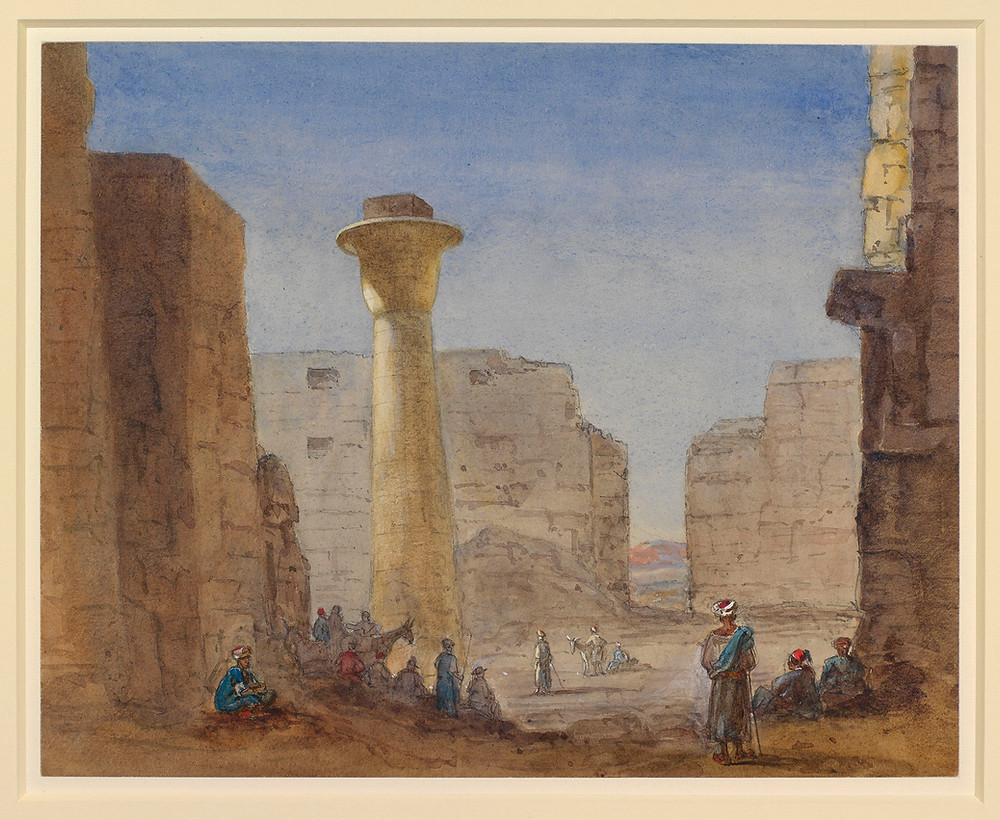 Temple of Kernak, 16th Feb 1869 by Alexandra. watercolour painting by Queen Alexandra.  Royal Collection Trust/(c) Her Majesty Queen Elizabeth II 2019