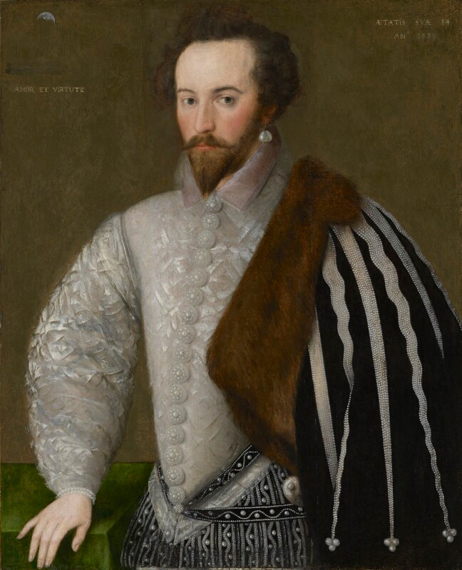 Sir Walter Ralegh (Raleigh)  by Unknown English artist oil on panel, 1588 NPG 7  © National Portrait Gallery, London