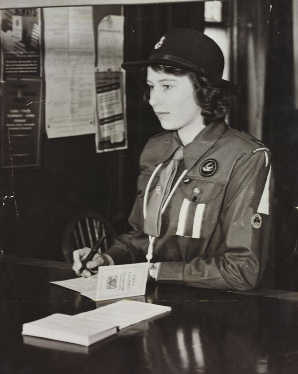 Princess Elizabeth, registering at a Labour Exchange, 5 May 1942 at the Royal Collection Trust/(c) Her Majesty Queen Elizabeth II 2018