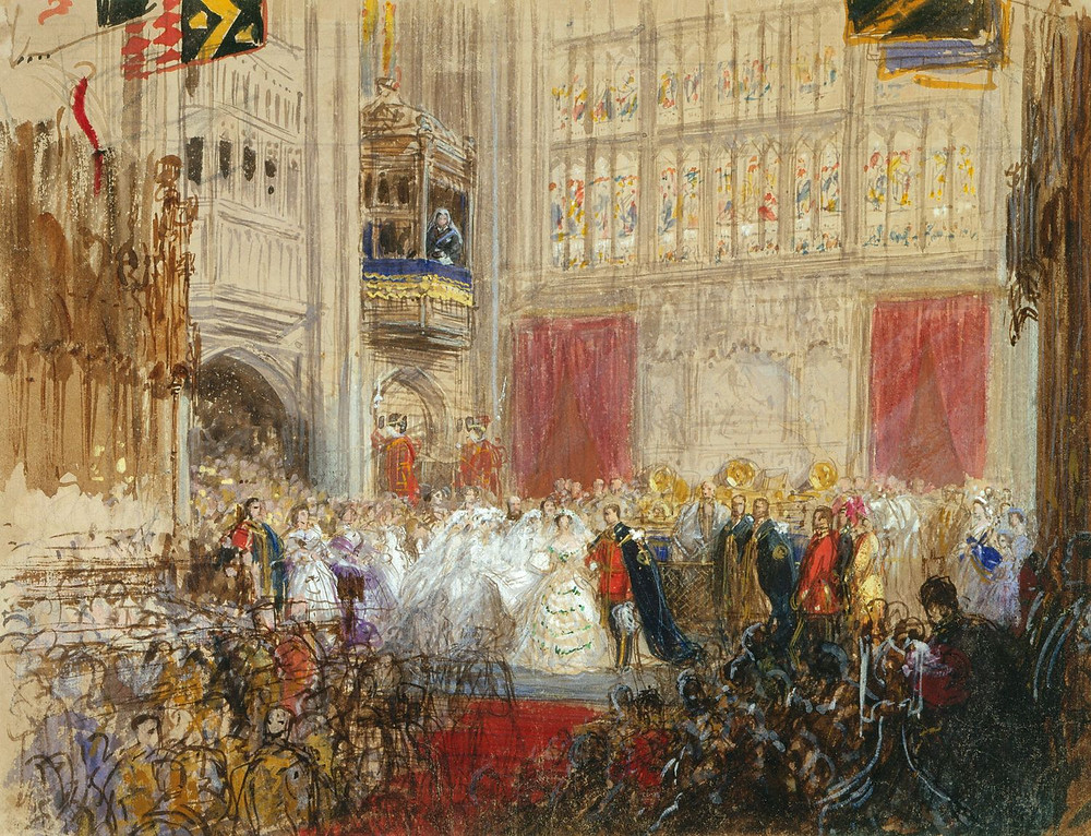 RCIN 914144,Sketch for the painting of 'The Marriage of the Prince and Princess of Wales' drawn March 1863, by GEORGE HOUSMAN THOMAS; Royal Collection Trust/© Her Majesty Queen Elizabeth II 2018