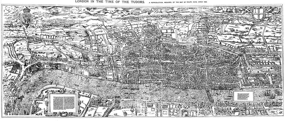 Woodcut Map of London circa 1561, during the Tudors
