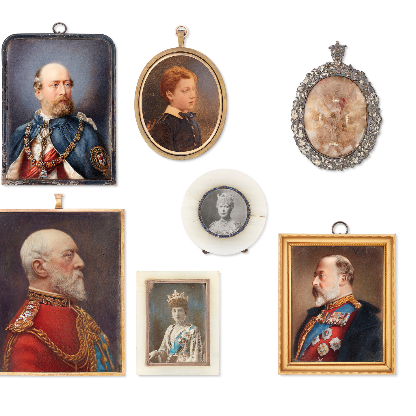 A GROUP OF SEVEN PORTRAIT MINIATURES OF ROYAL SITTERS King Edward VII (1841-1910), in semi-profile to the left, wearing red coat and orders (English School, 19th century. On ivory); the same sitter in profile to the right (English School, 19th century. On ivory); Prince Christian of Schleswig-Holsten (1831-1917), wearing the robes of the Order of the Garter (by William Thompson Barber, fl. c. 1876-1885, signed 'WT Barber' and indistinctly signed, lower right. On ivory); Edward VIII as a boy (by William and Daniel Downey, active 1855-1941. On card); Queen Mary (1867-1953) (English School, early 20th century, on a photographic card base); Queen Alexandra (1844-1925), dressed for the Connaught-Fife wedding (English School, circa 1913. On a photographic card base); a plated silver frame containing four locks of hair (18th century, the plated surround later) Some on ivory, some on card Oval and rectangular, 35 to 120 mm. high, framed