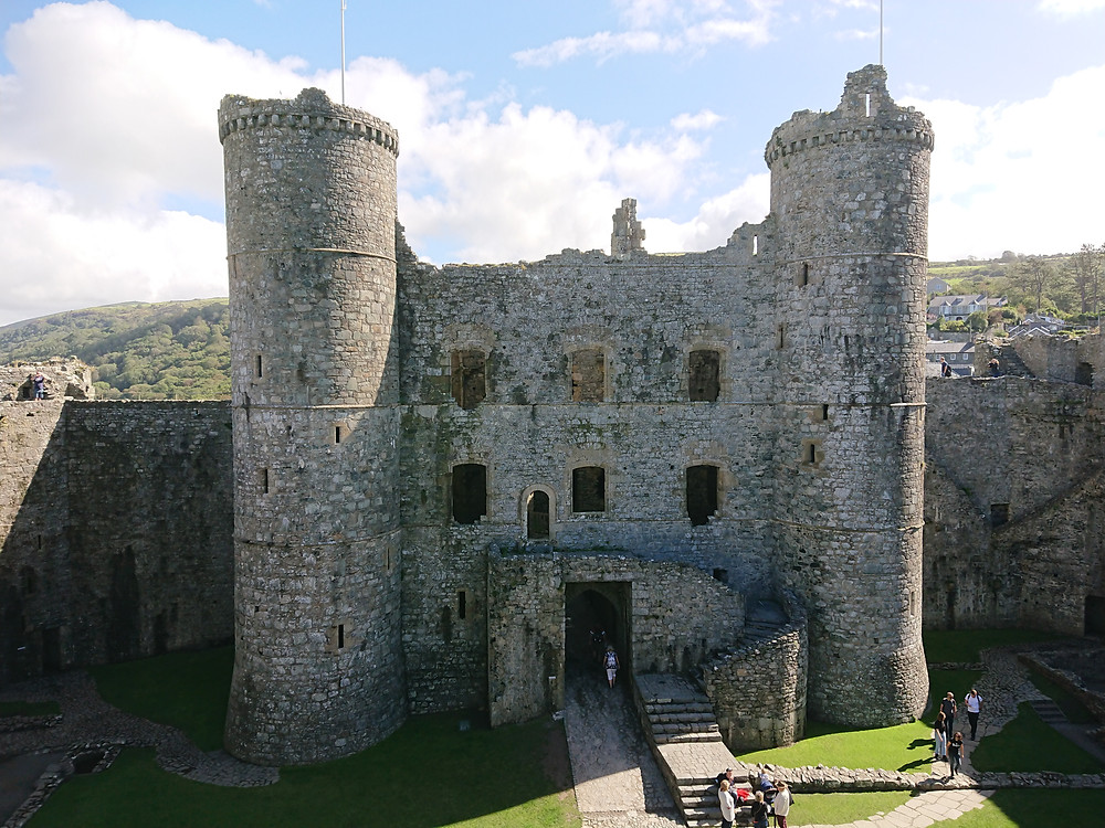View of the Gatehouse inner facade, Harlech Castle, North Wales
