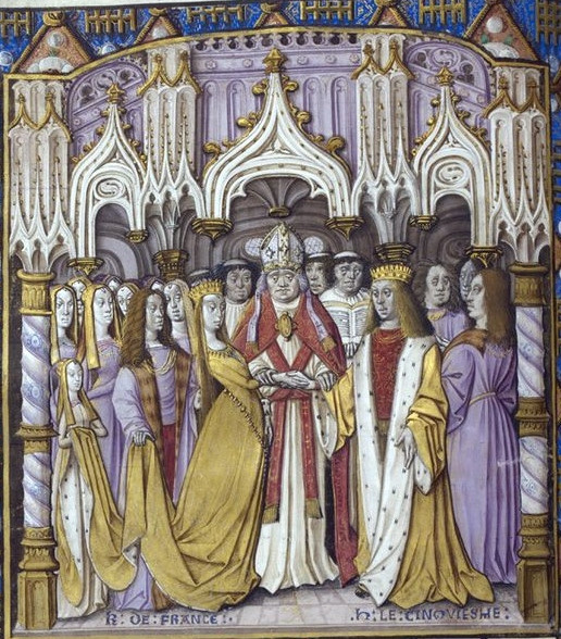 Marriage of King Henry V of England and Catherine of Valois. Illumination, Jean Chartier, Chronicle of Charles VII, av. 1494, British Library, Royal wedding
