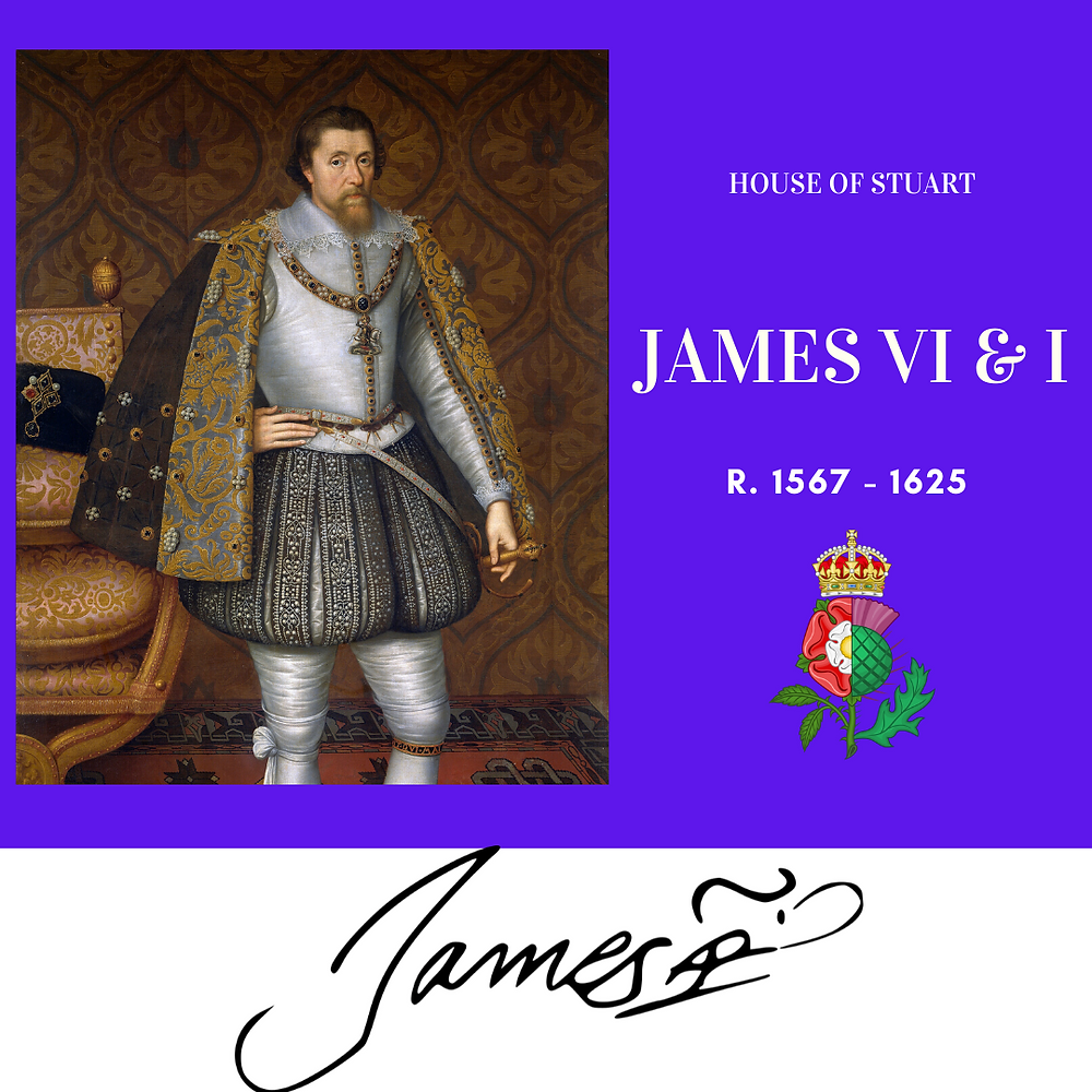 King James VI & I. King of Scotland, then England from 1603 to his death. He was the first Stuart king of England