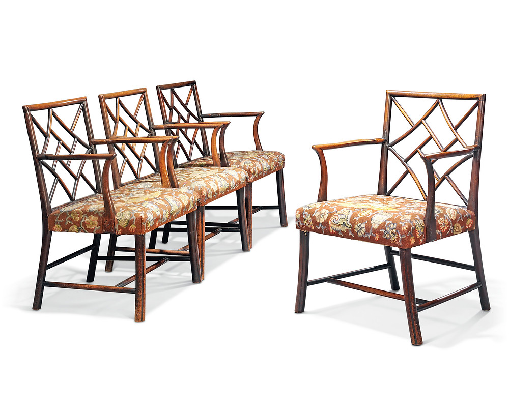 A PAIR OF GEORGE III MAHOGANY COCKPEN ARMCHAIRS   CIRCA 1760, POSSIBLY SCOTTISH, THE NEEDLEWORK BY H.R.H. THE DUCHESS OF GLOUCESTER, LATER PRINCESS ALICE (1901-2004) . Royal family history. royal collections. Christies.com