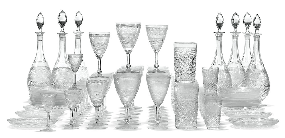A SWEDISH CUT AND ENGRAVED-GLASS PART TABLE-SERVICE   BY KOSTA, EARLY 20TH CENTURY . Royal history collection, royal family, christies.com