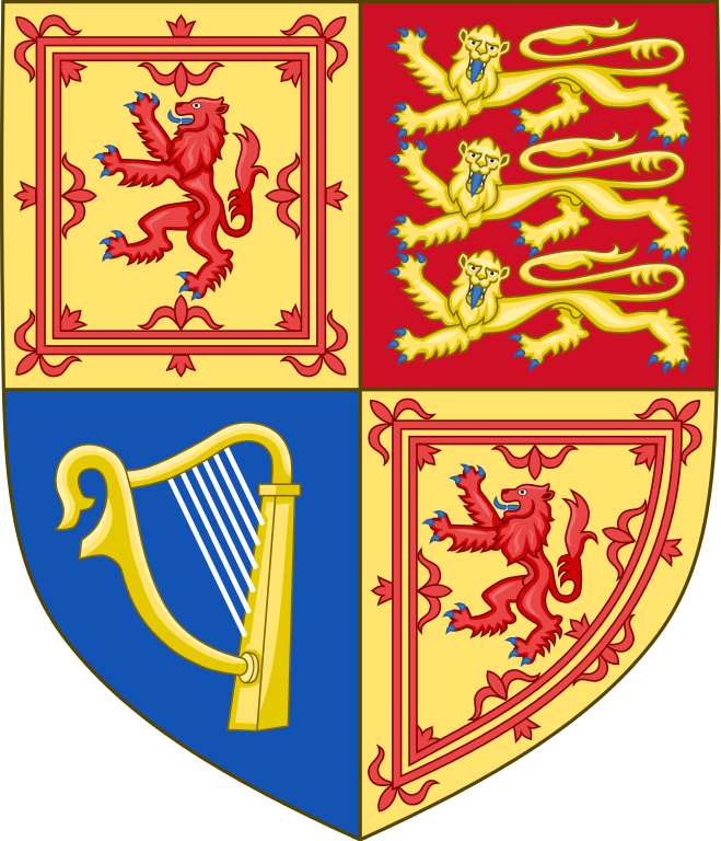 Queen Elizabeth II shield of arms as used in Scotland. Royal heraldry of the United kingdom