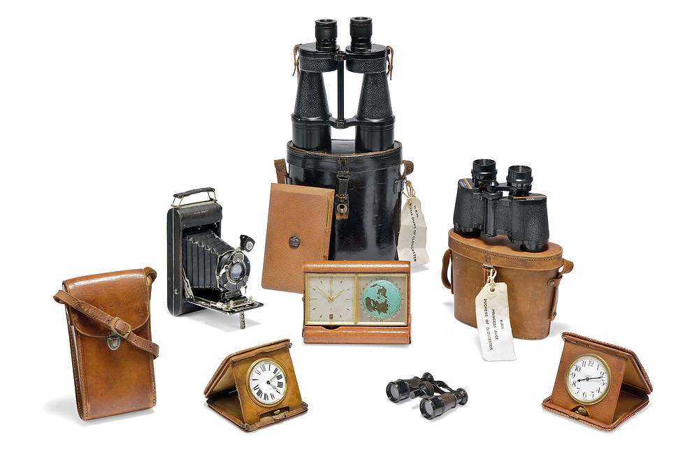 A COLLECTION OF LEATHER MOUNTED OBJECTS  EARLY-MID 20TH CENTURY . formerly owned by Princess Alice, Duchess of Gloucester. Cameras desk clock, historic camera. Christies.com