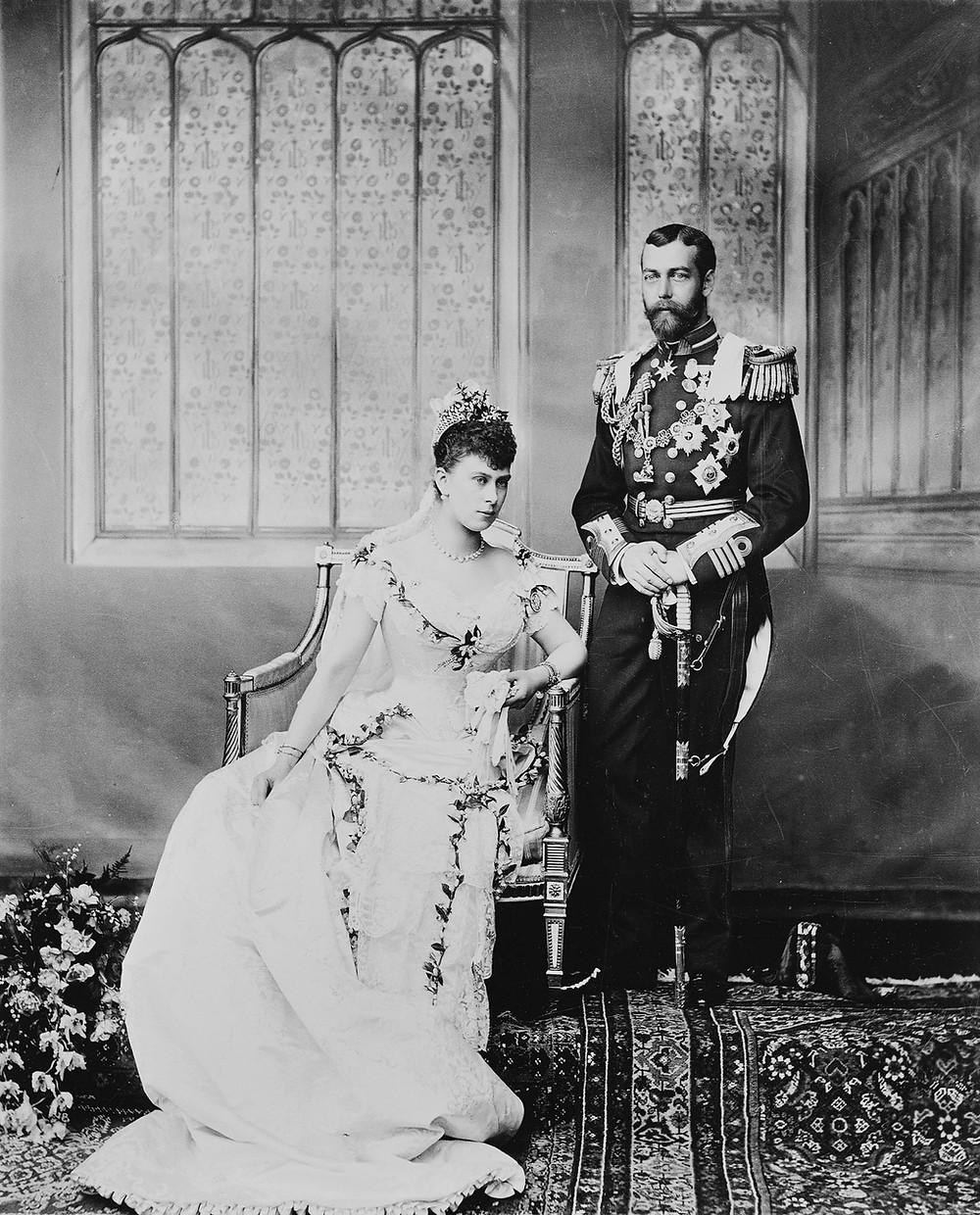 King George V & Queen Mary, when Duke and Duchess of York on their wedding day 6 Jul 1893